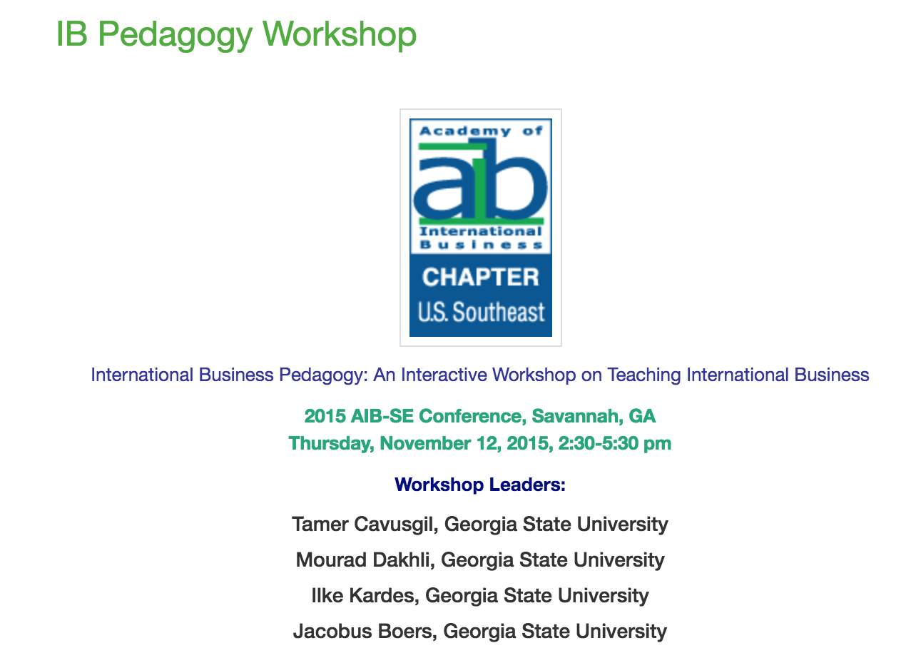 2015: AIB-SE (Academy of International Business-Southeast)